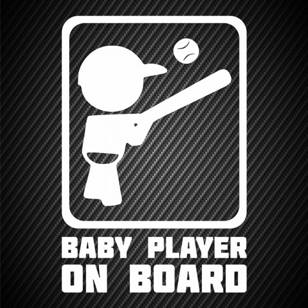 Baby baseball player on board