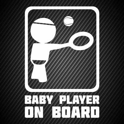 Baby tennis player on board