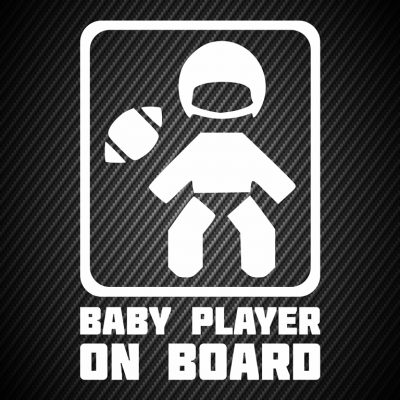 Baby football player on board