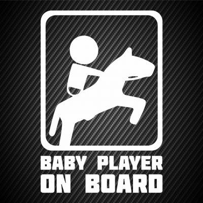 Baby horseback rider on board