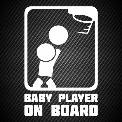 Baby basketball player on board