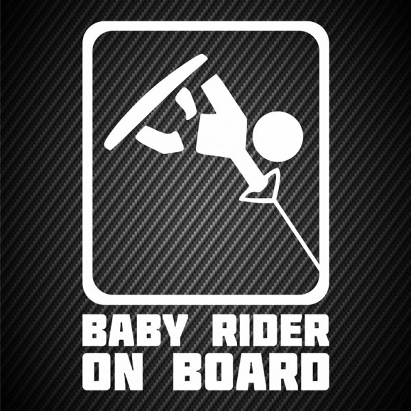 Baby wakeboard rider on board