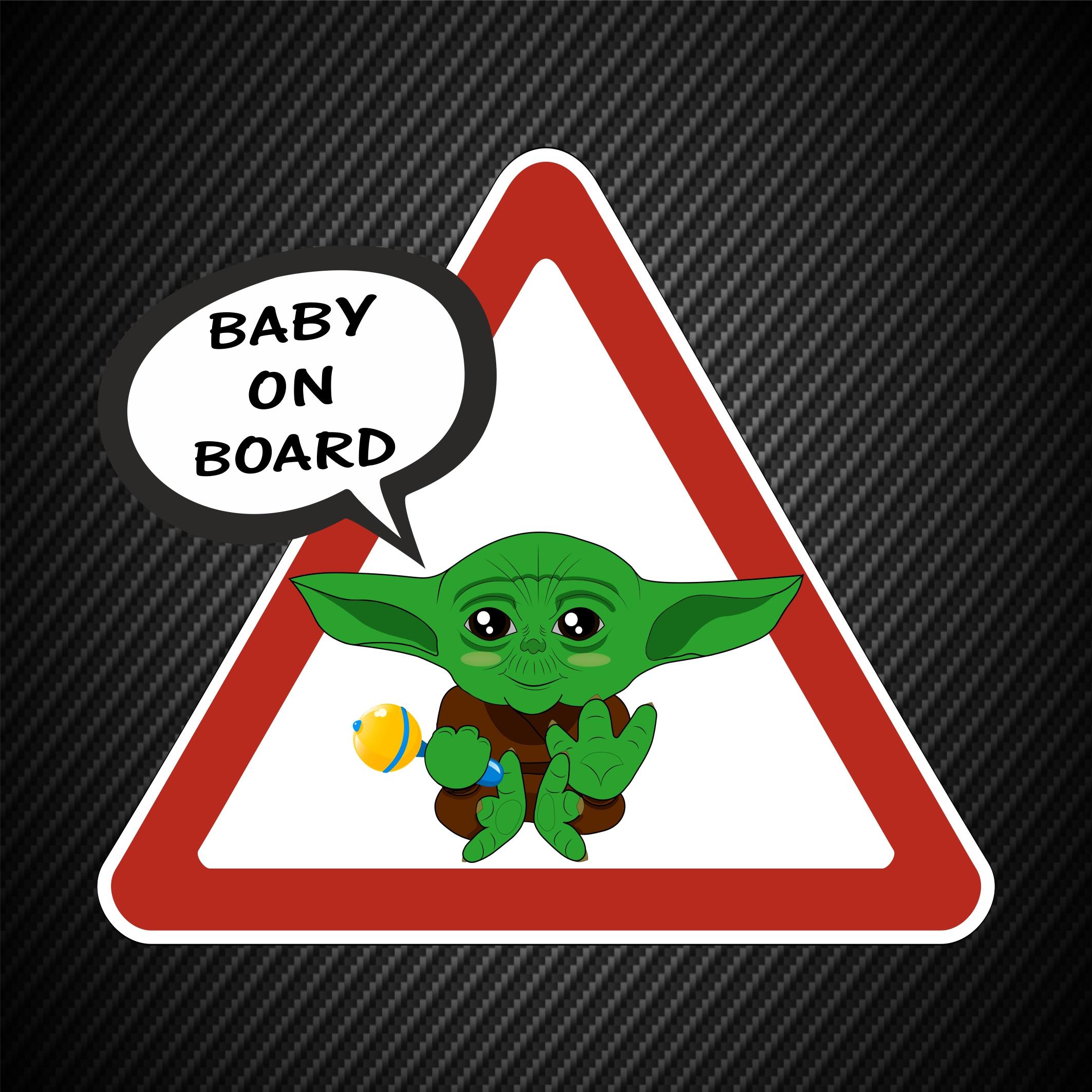 Baby On Board Yoda Laminated Car Sign